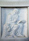 ZAGREB, CROATIA - APRIL 29: Saint Mark the Evangelist, detail of tomb reliefs at Mirogoj cemetery in Zagreb, Croatia, on April 29, 2012