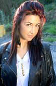 image of hair streaks  - beautiful fashion woman with red streaks in her hair - JPG