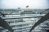 BERLIN, GERMANY - NOV 15, 2014: Interior of the modern dome on the roof of the Reichstag. It is a glass dome constructed on top of rebuilt Reichstag - Germany's parliament building.