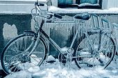 Blue Look At Ice Icicles On A Parked Bicycle