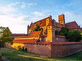 Malbork castle in the evening