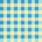 Pale yellow, cyan and blue checkered seamless background pattern
