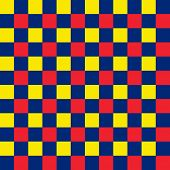 Bold blue, red and yellow seamless checkered background