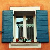 French Window With Blue Shutters, Provence, France.
