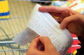 Supermarket. Paper Check Receipt Bill In Hand.