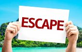 Escape card with a beach on background