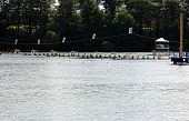 Start Line Boats With Eight Rowers.