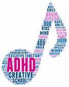 pic of prone  - ADHD musical note shaped word cloud on a white background - JPG