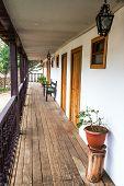 image of hacienda  - Wooden balcony on a historic colonial building in Tarma Peru - JPG