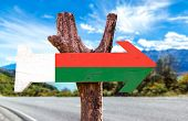 foto of dauphin  - Madagascar Flag wooden sign with road background - JPG