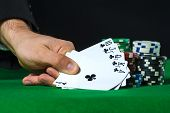 pic of flush  - Royal Flush in poker and betting chips - JPG