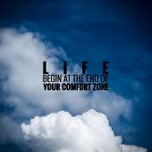 stock photo of open-source  - Inspirational quote by unknown source on vintage blue sky with light clouds background - JPG