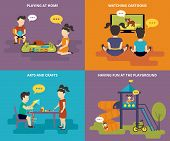 foto of playground school  - Family with concept flat icons set of childrens railway - JPG