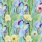 image of peyote  - Beautiful vector pattern with nice watercolor cactus peyote - JPG