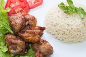 picture of fried chicken  - Fried chicken with salt and brown rice - JPG