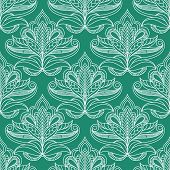 foto of emerald  - Persian foliage seamless pattern on emerald background with lush compositions of white openwork kidney shaped leaves with curly tips and traditional paisley ornaments - JPG