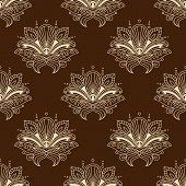 foto of teardrop  - Indian floral seamless pattern on brown background with stylized yellow flowers with teardrop shaped petals decorated wavy paisley ornament for wallpaper or fabric design - JPG