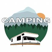 stock photo of motorhome  - motorhome over landscape background with text camping - JPG