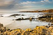 image of bathing  - The rocky coastline near Howick in Northumberland with the Bathing House at the end of the low cliffs on the horizon - JPG