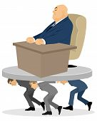 picture of deprivation  - Vector illustration of a high official robs workers - JPG