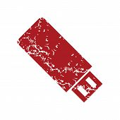 image of memory stick  - Red grunge usb stick logo on a white background - JPG