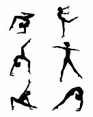 stock photo of gymnastics  - Vector illustration of a six gymnasts silhouettes set - JPG