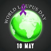 picture of lupus  - illustration of a ribbon for World Lupus Day in gray background - JPG