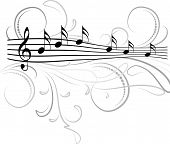 pic of g clef  - Treble clef and musical notes with decorative floral swirls - JPG
