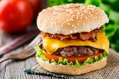 picture of beef-burger  - Bacon burger with grilled beef cutlet and tomato - JPG
