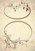 picture of oval  - Pair of elegant oval frames on a aged background - JPG