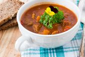 foto of boeuf  - beef in a goulash stew served on the table - JPG