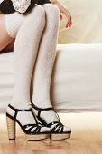 foto of stocking-foot  - Fashionable woman legs - JPG