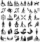 image of disabled person  - Black and white disability and people related graphics collection isolated on white background - JPG