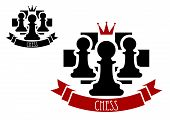 pic of chessboard  - Black chess pawns on chessboard with red crown and ribbon banner with text Chess for sporting tournament badge or emblem design - JPG