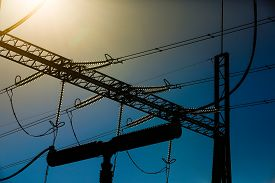 picture of electricity pylon  - Close - JPG