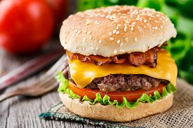 image of burger  - Bacon burger with grilled beef cutlet and tomato - JPG