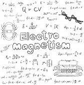 Постер, плакат: Electromanetism Electric Magnetic Law Theory And Physics Mathematical Formula Equation Doodle Hand