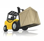 picture of fedex  - 3d rendered yellow forklift with the crate over white background - JPG