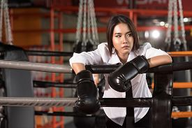 picture of boxing  - Success of Businessman Businesswoman with boxing glove on boxing ring  - JPG