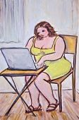 picture of fat woman  - Big beautiful woman surfs the internet in her home office - JPG