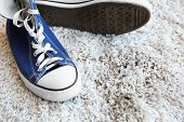 Pair of shoes and dirty footprint on white carpet poster
