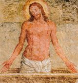 Fresco of Jesus at the tomb