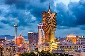 Macau, China city skyline at dusk. poster
