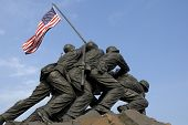 image of iwo  - The US Marine Corps War Memorial is located near Arlington National Cemetery in Rosslyn Virginia - JPG