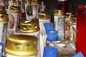 picture of pio  - a variety of candles lighting in a grotto - JPG