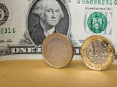 1 Pound And 1 Euro Coin, And One Dollar Note Over Metal Background poster