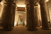 pic of isis  - Columns at Temple of Isis on Philae Island in the night with lighting - JPG