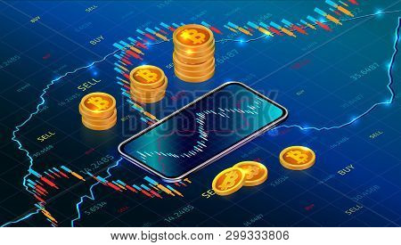 poster of Cryptocurrency Stock Exchange Or Investment Concept With Mobile App. Digital Money Market. Forex Tra