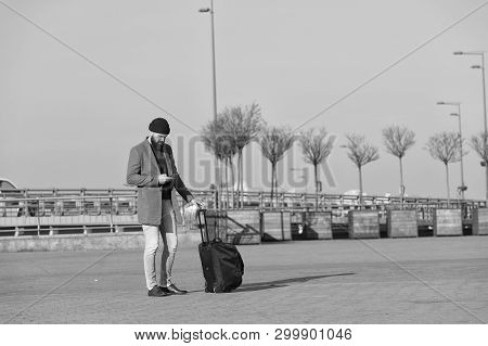 poster of Traveler With Suitcase Waiting Transportation To Airport Railway Station. Ready To Travel. Carry Tra