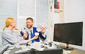 Businessman With Cash Bank Client. Office Manager Hold Bank Card. Man Business Owner Sit Office Pile poster